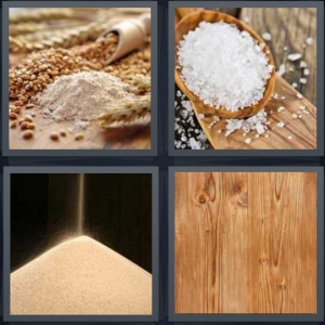 4 Pics 1 Word Answer 5 letters for different forms of wheat, coarse salt in wooden spoon, falling salt, close up of wood