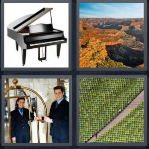 4 Pics 1 Word Answer 5 letters for black piano on white background, canyon with colors, bellhop at nice hotel, large stadium with green seats