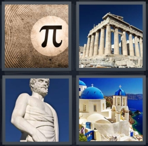 4 Pics 1 Word Answer 5 letters for symbol for mathematical pi, Acropolis in Athens, statue of Zeus, blue roofed buildings on edge of sea in Santorini