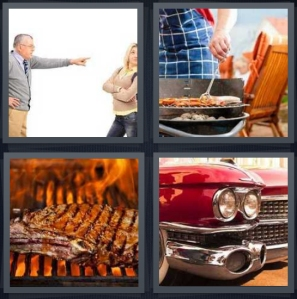 4 Pics 1 Word Answer 5 letters for man yelling and pointing at woman, person cooking outside with apron, barbecue meat on open flame, front fender of classic car
