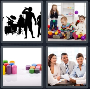 4 Pics 1 Word Answer 5 letters for silhouette of band playing, children play session, containers with matching lids, business meeting at round table