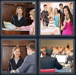 4 Pics 1 Word Answer 5 letters for tourist at hotel desk with map, woman in pink speaking at party, hotel lobby concierge, man speaking at conference with microphone