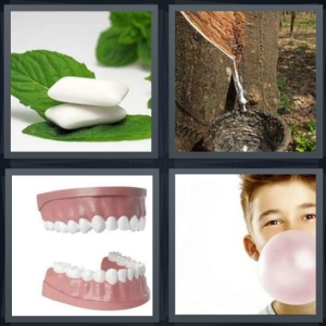 4 Pics 1 Word Answer 3 letters for mint to chew on with mint leaves, sap or syrup coming from Maple tree, teeth mold for dentist, boy blowing bubble