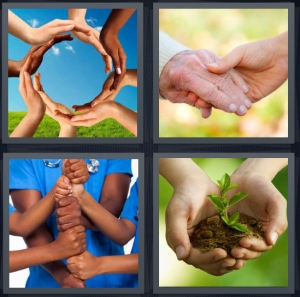 4 Pics 1 Word Answer 5 letters for palms arms making circle, holding palms, fists stacked, soil in palm