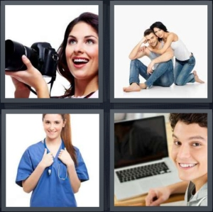 4 Pics 1 Word Answer 5 letters for photographer smiling with camera, couple content, smiling nurse in scrubs, student smiling with laptop