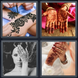 4 Pics 1 Word Answer 5 letters for black ink on woman arm, Indian ceremonial hand paint, Indian wedding, decoration traditional