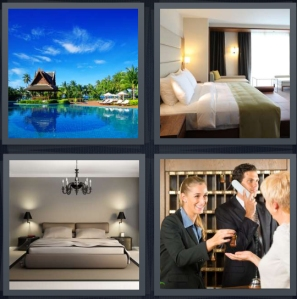 4 Pics 1 Word Answer 5 letters for tiki bungalow on lake, room for the night, large king sized bed, front desk in check in