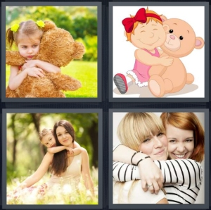 4 Pics 1 Word Answer 3 letters for little girl with large teddy bear, cartoon of child with stuffed animal, mother and daughter, sisters embracing