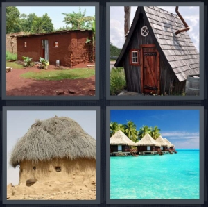 4 Pics 1 Word Answer 3 letters for mud house with red walls, A frame wooden cottage, thatched roof, beach with cabanas on water