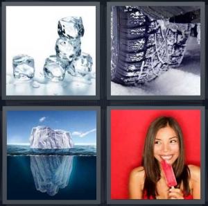 4 Pics 1 Word answers, 4 Pics 1 Word cheats, 4 Pics 1 Word 3 letters cubes melting, tires in snow slipping, iceberg under water, woman eating red popsicle with red background