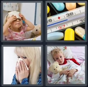 4 Pics 1 Word Answer 3 letters for sick little girl at doctor, thermometer reading fever temperature, woman sneezing with tissue, boy sick in bed at home