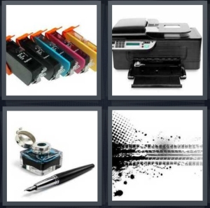 4 Pics 1 Word Answer 3 letters for color cartridges for printer, jet home printer, old pen with well, tracks of black stain