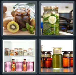 4 Pics 1 Word Answer 3 letters for sun tea in glass container, cucumbers turning into pickles, pantry with bottles picnic supplies, olive oil glass bottles