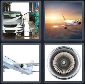 4 Pics 1 Word Answer 3 letters for person working at carwash with sprayer, airplane in sunset, wing of plane, engine of plane