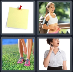 4 Pics 1 Word Answer 3 letters for post it note with push pin on wall, woman running in workout clothes, woman tying sneakers, woman remembering or thinking
