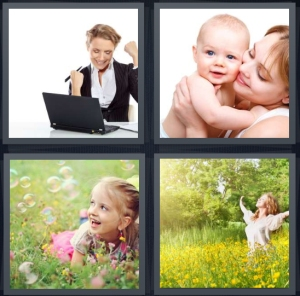 4 Pics 1 Word Answer 3 letters for woman in business suit excited about success, mother with baby, girl in grass with bubbles, happy woman with arms outstretched in field of flowers
