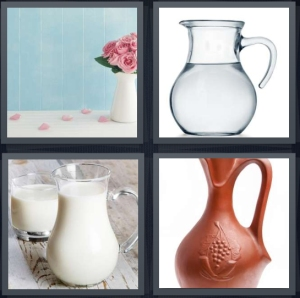 4 Pics 1 Word Answer 3 letters for vase with pink flowers, water in jar, milk with glass, pitcher for drinks