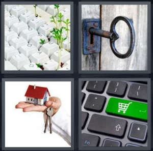 4 Pics 1 Word Answer 3 letters for sprouts in keyboard, skeleton lock for door, buy house, shop online buy something