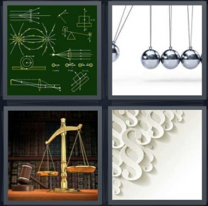 4 Pics 1 Word Answer 3 letters for chalkboard with mathematical equation, magnet balls on abacus, judicial scale weighted, white design