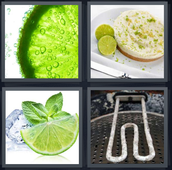 4 Pics 1 Word Answer 4 letters for green lemon close up, cupcake with green frosting, green citrus with ice, metal tool