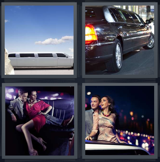 4 Pics 1 Word Answer 4 letters for stretch white car, black car, people on leather seats, people sticking head through sunroof