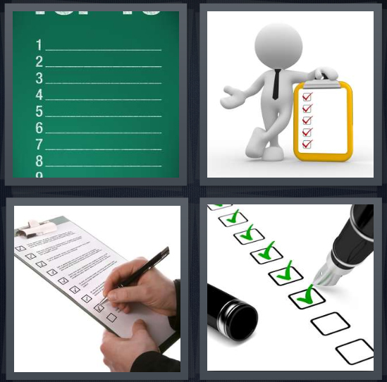4 Pics 1 Word Answer 4 letters for green to do, cartoon with red checkmarks, man writing on clipboard, pen ticking boxes with green ink