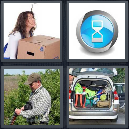 4 Pics 1 Word Answer 4 letters for woman lifting heavy box, timer for computer, man putting bullets in rifle, trunk of van full of stuff