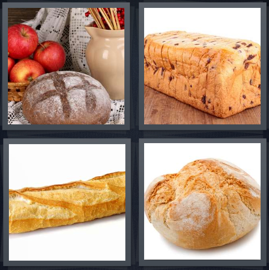 4 Pics 1 Word Answer 4 letters for bread with apples, sliced raisin bread, French baguette, peasant roll with flour