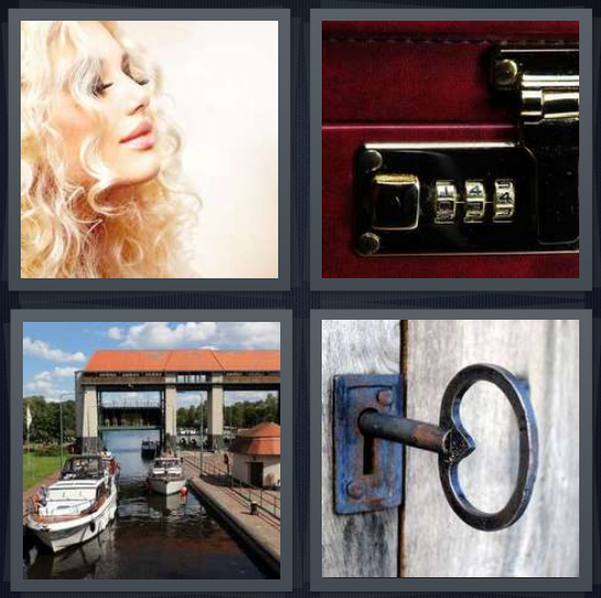 4 Pics 1 Word Answer 4 letters for curly blond hair, combination on suitcase, slip for boats, key in door