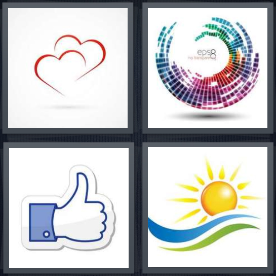 4 Pics 1 Word Answer 4 letters for hearts interlocked symbol, colors in circle EPS, Facebook like thumbs up, sun with green and blue stripes