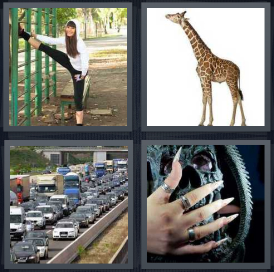 4 Pics 1 Word Answer 4 letters for woman stretching leg at park, giraffe on white background, traffic jam on highway, witch with pointy fingernails