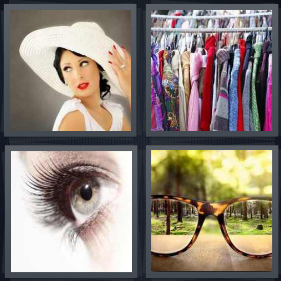 4 Pics 1 Word Answer 4 letters for woman with white hat glancing back, clothes on rack at thrift store, eye with lashes, glasses seeing trees in focus