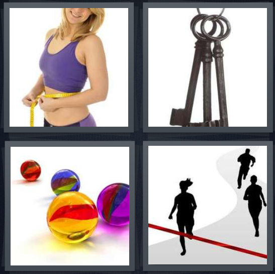 4 Pics 1 Word Answer 4 letters for woman on diet with measuring tape, keys on ring, colored marbles, people crossing finish line in race