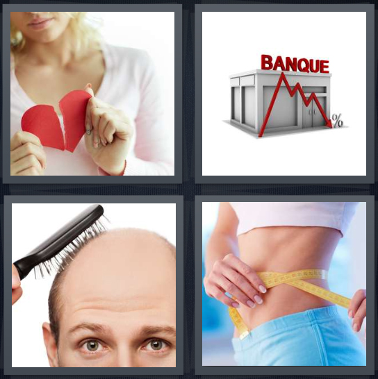 4 Pics 1 Word Answer 4 letters for girl with broken heart symbol, banque crash, bald man losing hair, woman on diet losing weight