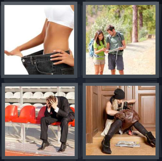 4 Pics 1 Word Answer 4 letters for skinny woman with large pants, hikers with map confused, upset man sitting on red chairs, woman without keys to get in building
