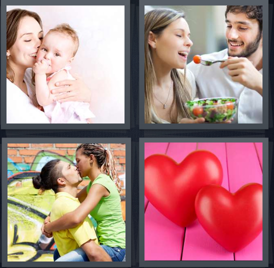 4 Pics 1 Word Answer 4 letters for mother with baby, couple eating salad, couple kissing by graffiti wall, heart balloons