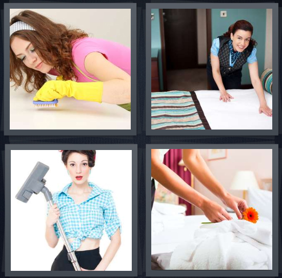 4 Pics 1 Word Answer 4 letters for woman with yellow gloves cleaning room, housekeeping smoothing bed, 50s woman with vacuum, hotel cleaner laying flower on bed