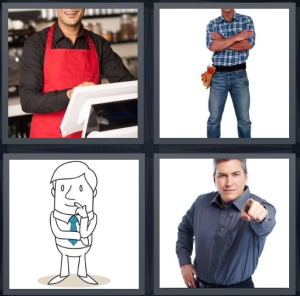4 Pics 1 Word Answer 3 letters for male chef in red apron, male carpenter in jeans and checkered shirt, drawing with blue tie, blue shirt pointing