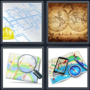 4 Pics 1 Word Answer 3 letters for construction blueprint with hard hat, antique explorer chart, magnifying glass for directions, directions with cell phone and compass