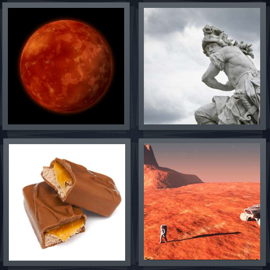 4 Pics 1 Word Answer 4 letters for planet in sky on black background, Roman god statue, candy bar with caramel, red planet rover