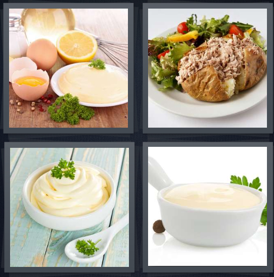 4 Pics 1 Word Answer 4 letters for eggs with vinegar, potato with tuna salad, condiment with parsley, sauce for sandwich
