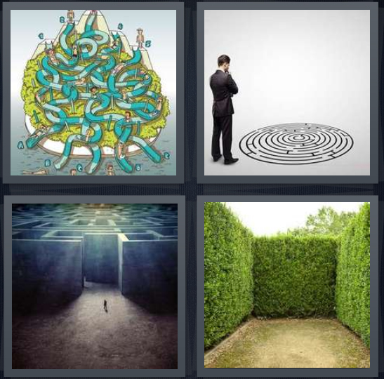 4 Pics 1 Word Answer 4 letters for cartoon of water slides tangled, man looking at puzzle, walls, hedges puzzle