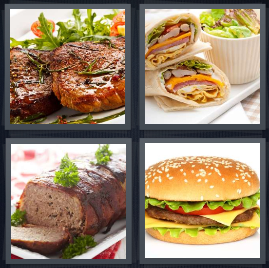 4 Pics 1 Word Answer 4 letters for steak on plate, cold cut deli sandwiches, loaf for dinner, burger on sesame seed bun