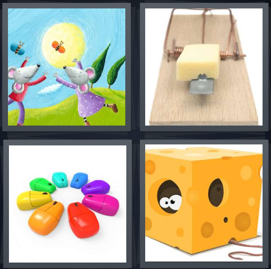 4 Pics 1 Word Answer 4 letters for cartoon drawing mouse in field, mousetrap with cheese, computer mouse, mouse in block of cheese