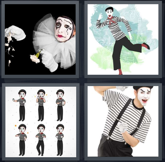 4 Pics 1 Word Answer 4 letters for black and white clown, drawing of French clown, six men wearing stripes, man with white facepaint and black suspenders