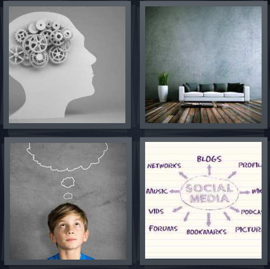 4 Pics 1 Word Answer 4 letters for grey head with brain, psychologist couch, young boy thinking with thought bubble, social media chart with arrows
