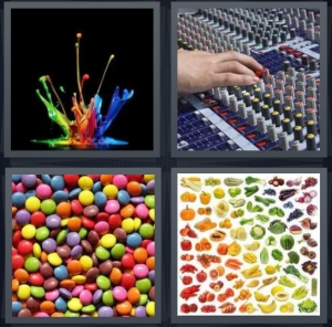 4 Pics 1 Word Answer 3 letters for colorful paint splash, sound board for concert, multicolored candies, rainbow vegetable chart