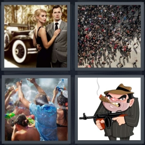 4 Pics 1 Word Answer 3 letters for 1920s mafia couple with antique car, crowd in central square, water fight like Songkran, cartoon gangster with cigar
