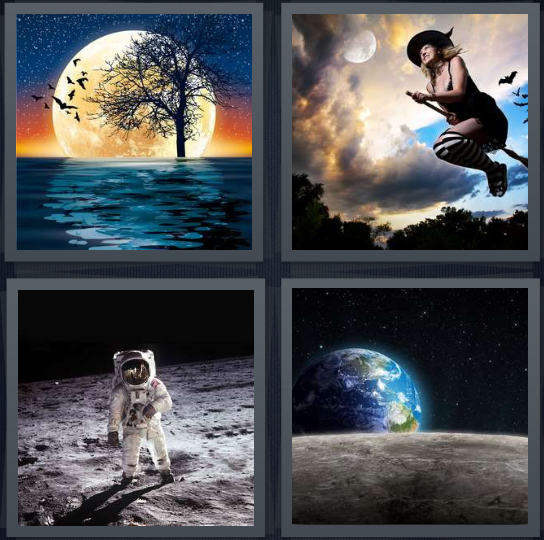 4 Pics 1 Word Answer 4 letters for lake at nighttime, witch on broom in sky, person landing in space, Earth from space