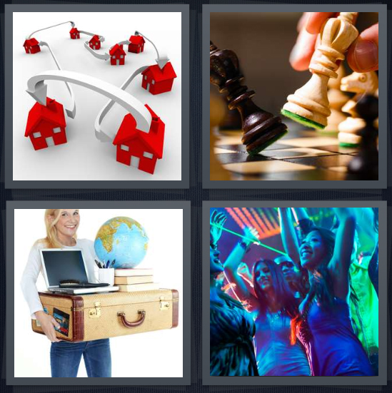 4 Pics 1 Word Answer 4 letters for person changing to new house, chess players, person mobilizing things, dance party with lights